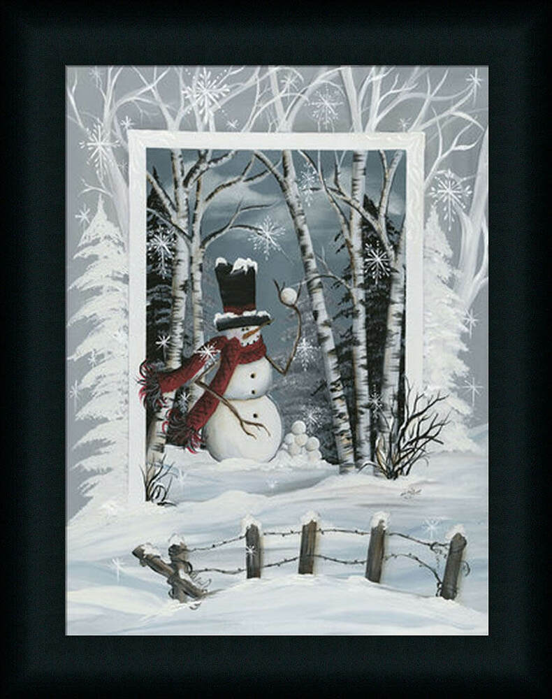 Snowball fight 16x12 snowman winter scene framed art print for Winter wall murals