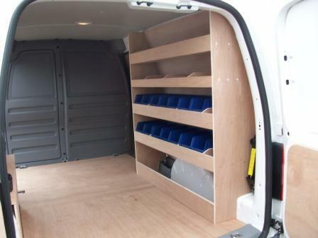 vw caddy maxi van racking plywood shelving with storage bins ebay. Black Bedroom Furniture Sets. Home Design Ideas