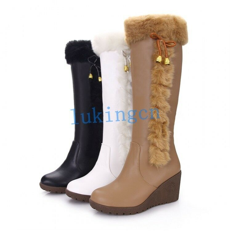 new womens knee high warm fur trim winter snow boots wedge
