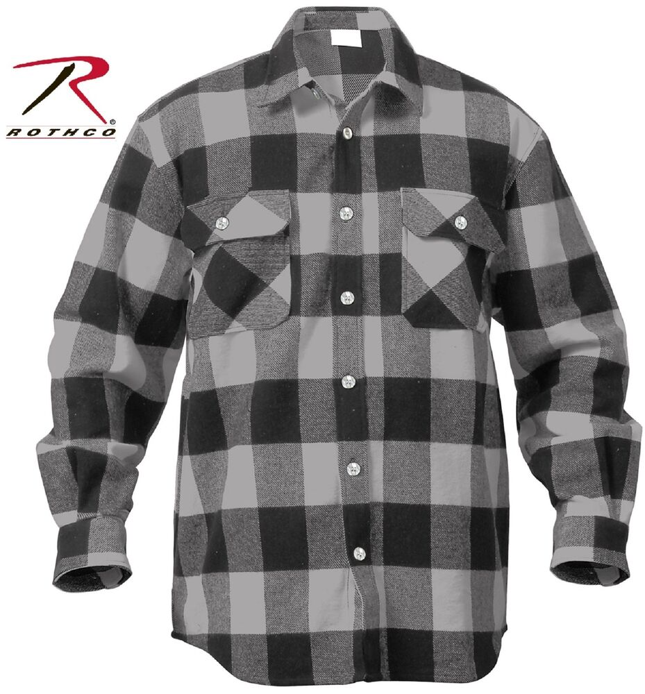 mens grey black buffalo plaid flannel shirt 100 cotton
