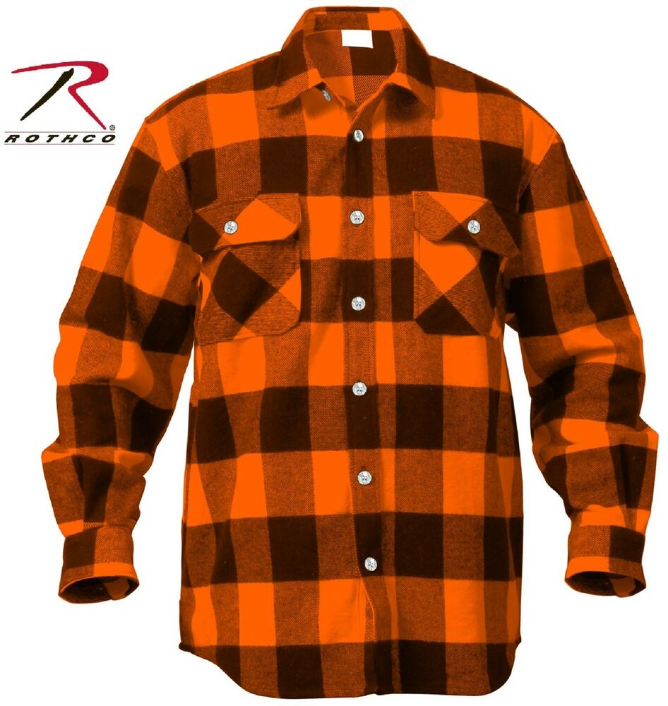 Mens Orange Black Buffalo Plaid Flannel Shirt Cotton