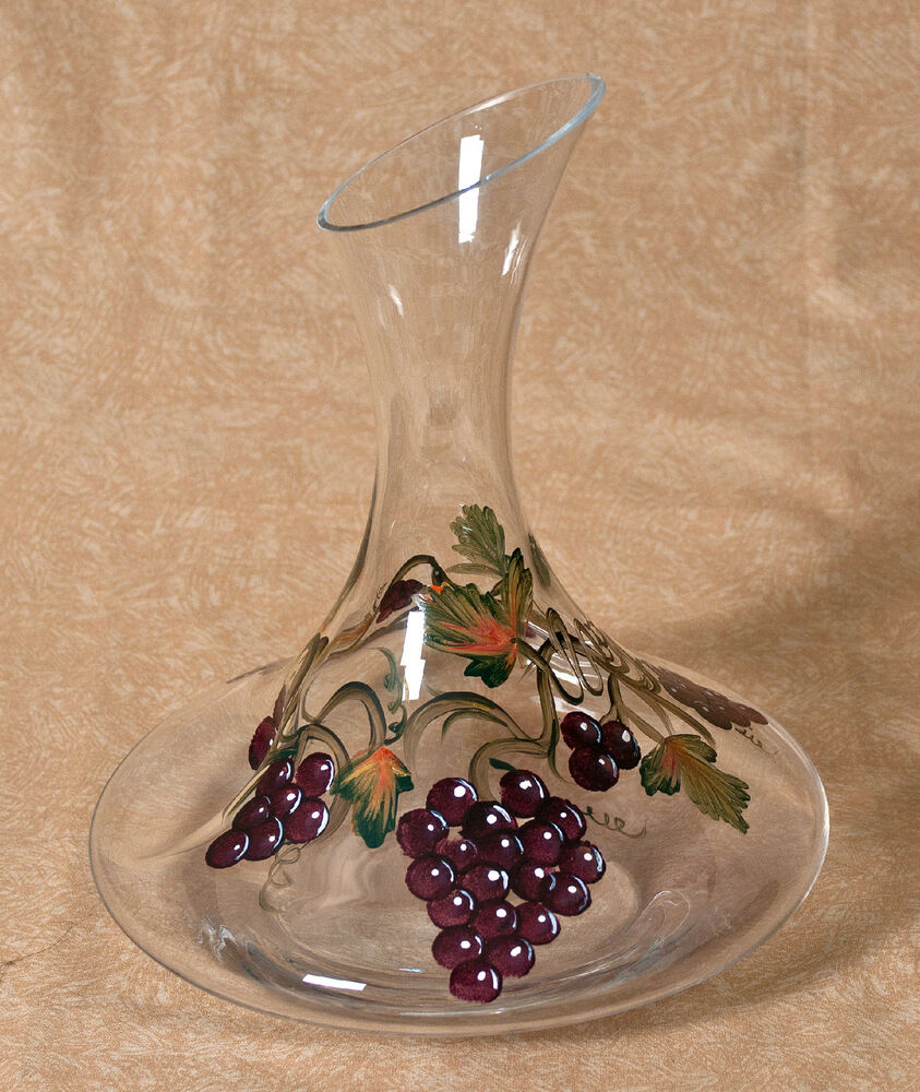 Beautiful hand painted glass the grape collection ebay for Hand painted glassware