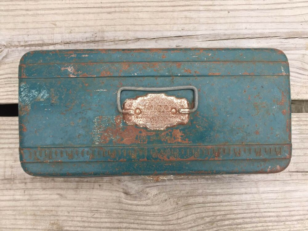 Vintage Union Utility Chest Fishing Tackle Steel Tool Box