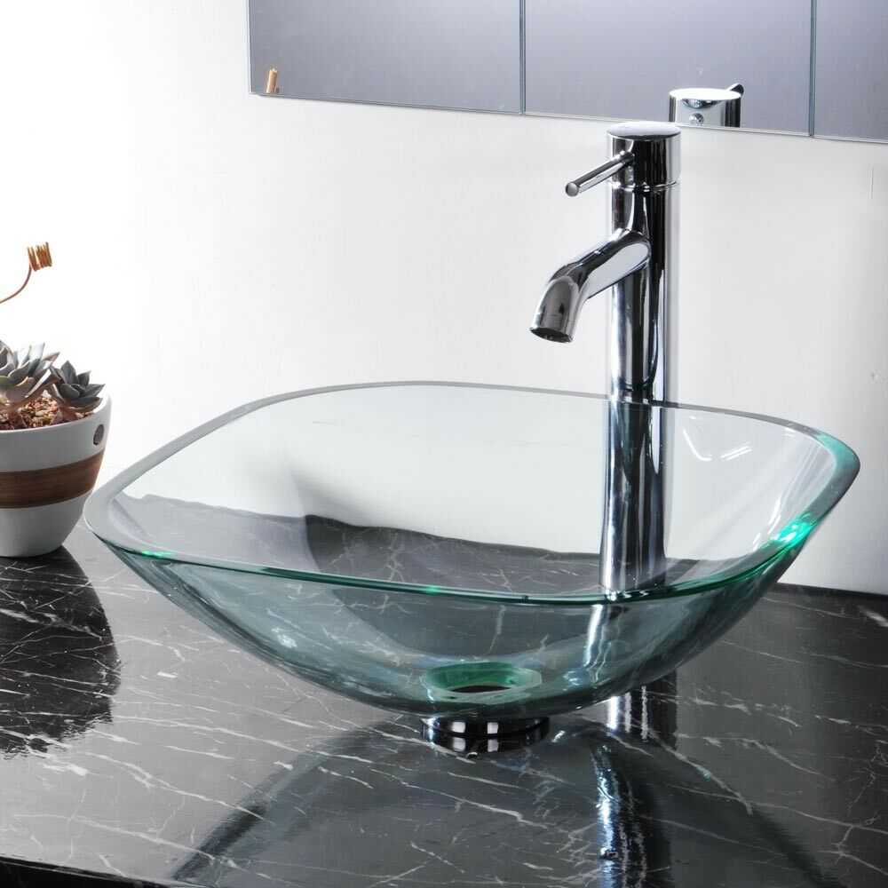 Modern Tempered Glass Bathroom Vessel Sink Natural
