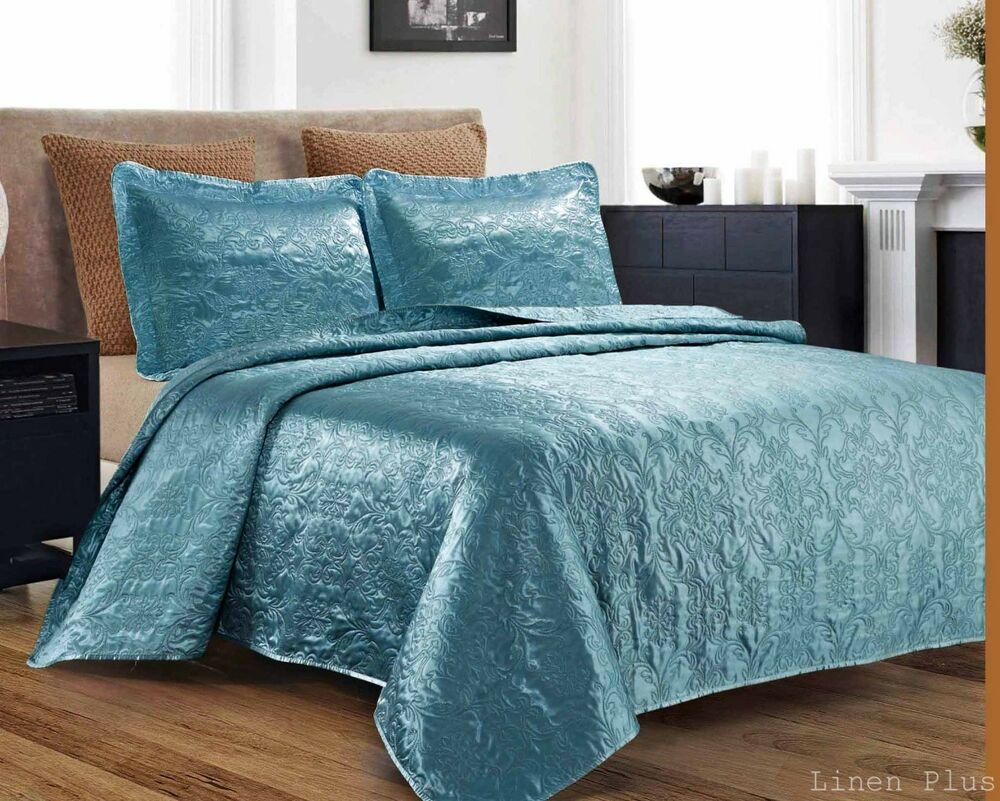 3 Piece Silky Satin Light Turquoise Quilted Bedspread