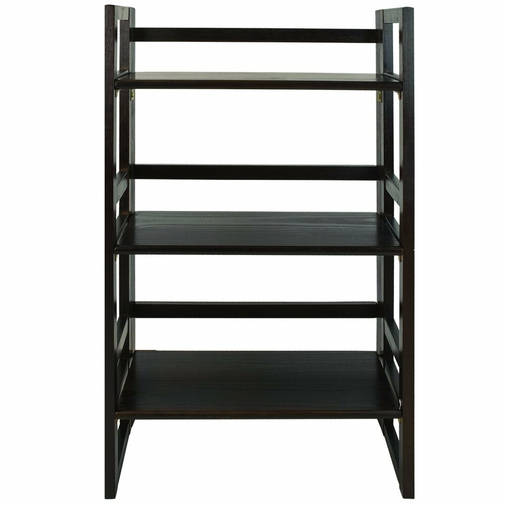 casual home 3 tier folding student bookcase 21in wide in espresso finish 331 84u ebay. Black Bedroom Furniture Sets. Home Design Ideas