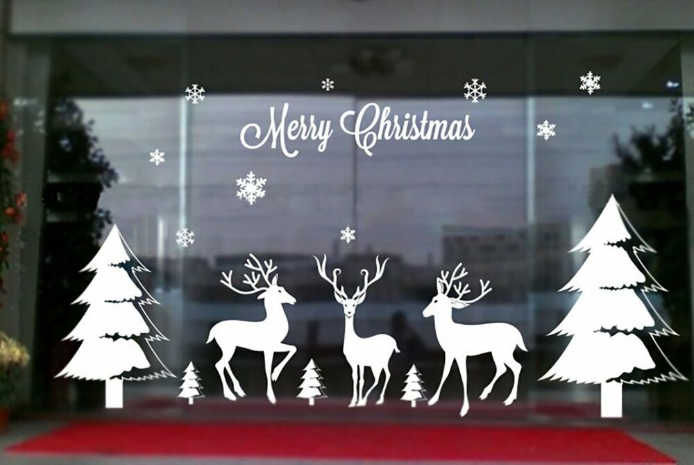 Christmas decor xmas decals art vinyl window home for Christmas wall mural plastic