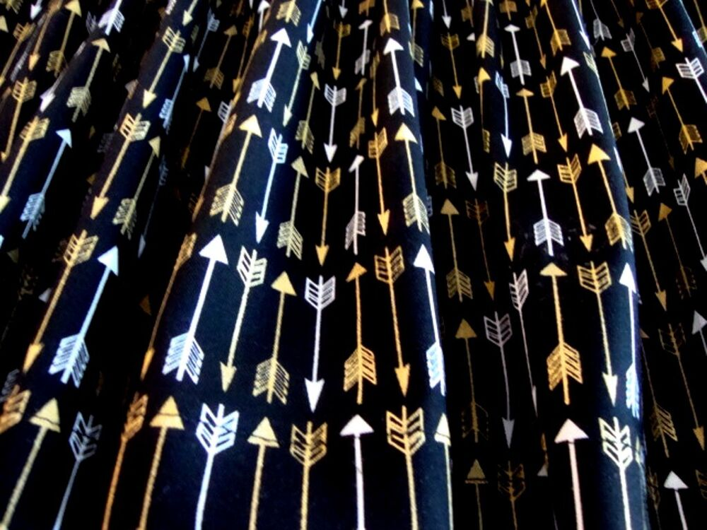 VALANCE Black with Gold and White Arrows Curtain Window Treatment ...