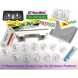 Replacement Suction Cups for SunPass, PikePass, K-Tag & Express Pass. 12 pack