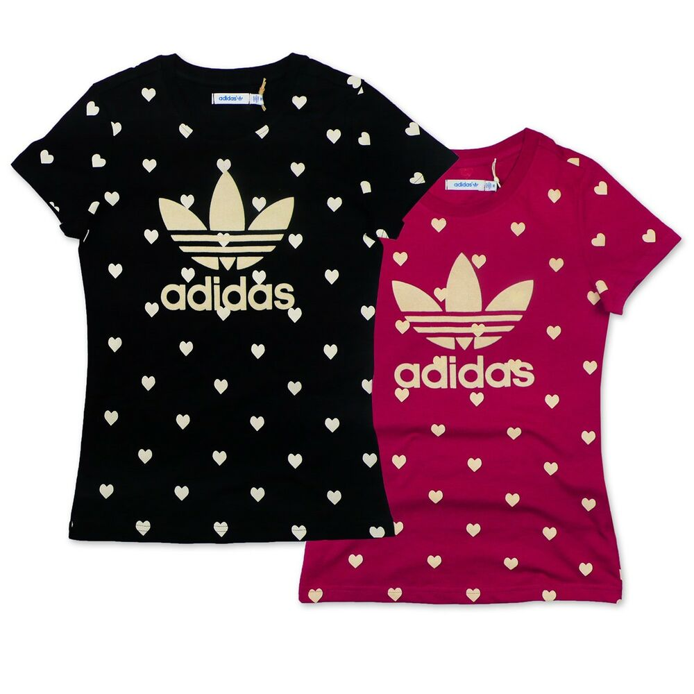 Adidas originals trefoil hearts tee ladies t shirt hearts for Adidas lotus t shirt