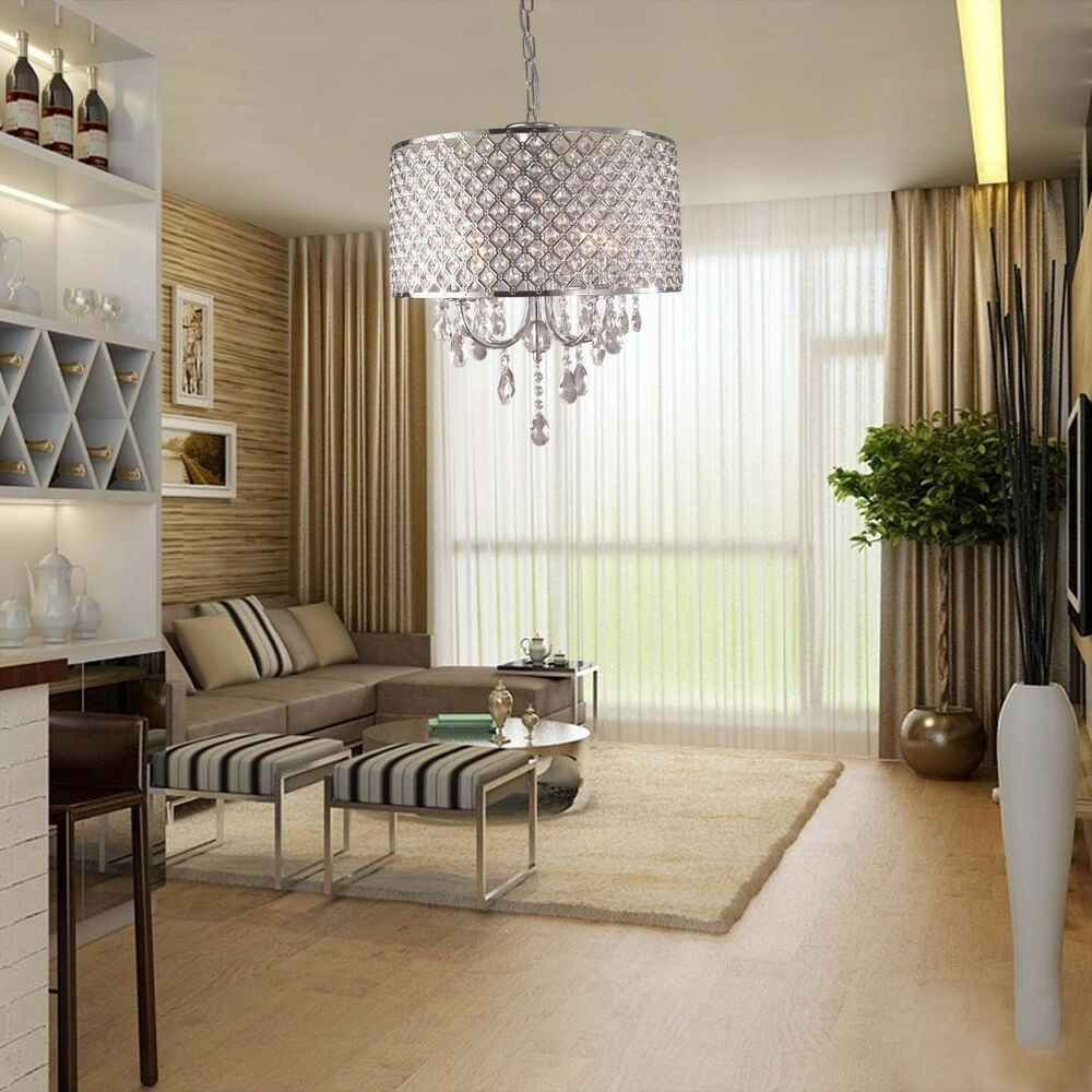 chandelier abstract 4 light crystal ceiling fixture lamp lighting modern hanging ebay - Cheap Chandeliers For Bedrooms