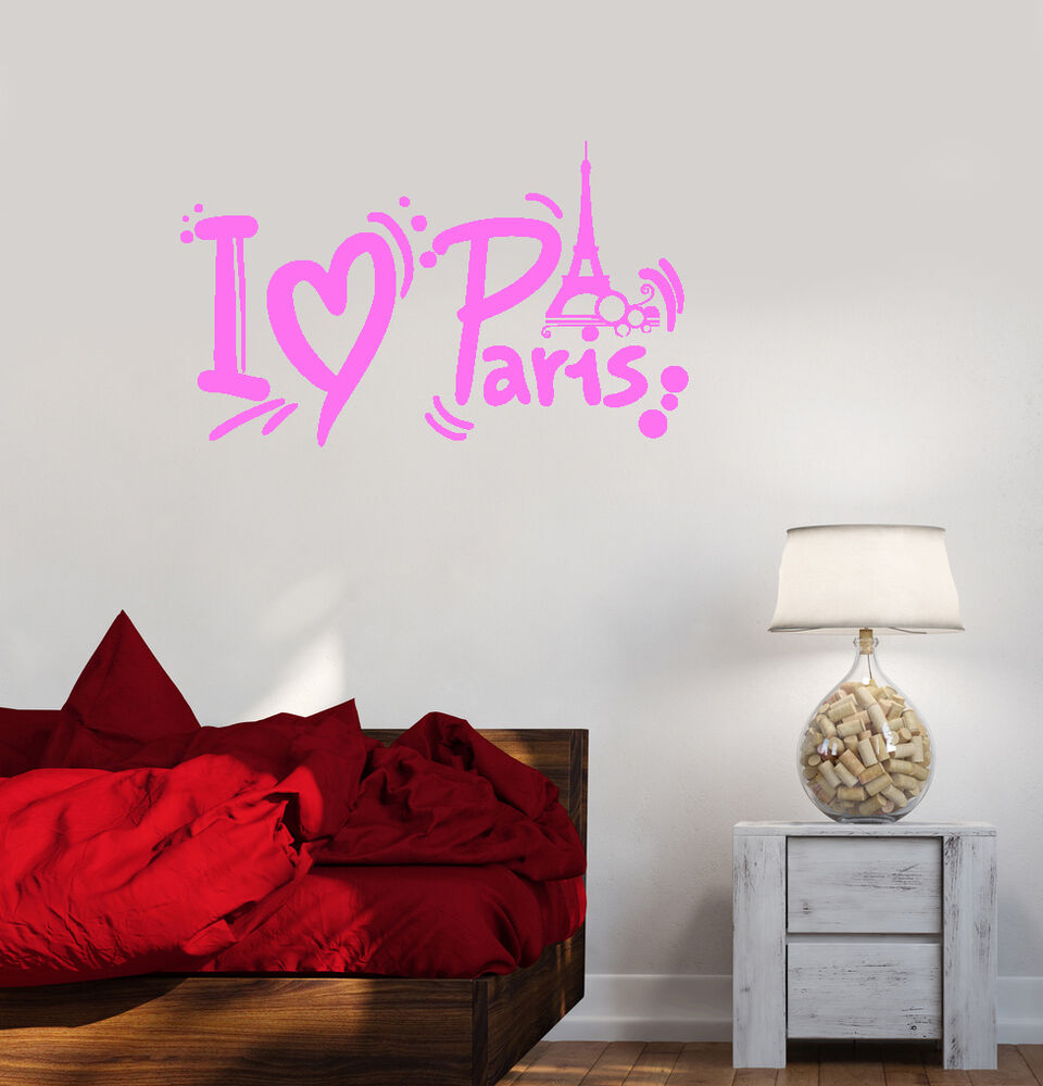 Vinyl Decal Paris Eiffel Tower French Girl Room Decor Wall Stickers