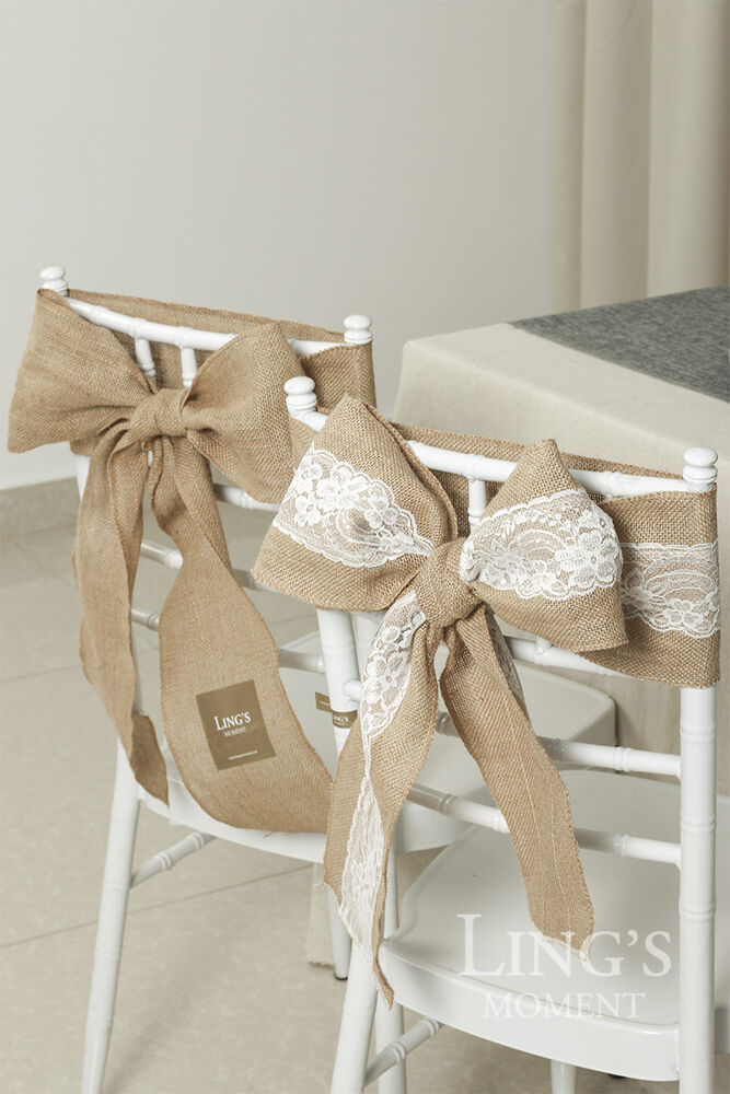 burlap chair cover sashes pew bows rustic wedding party