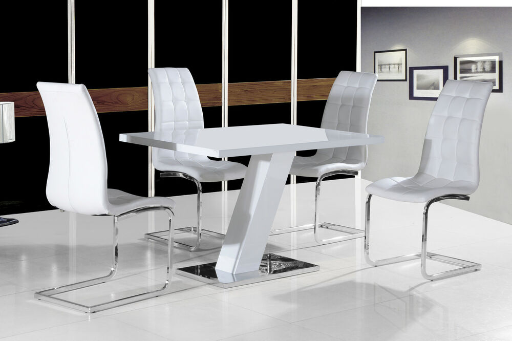 Contemporary white high gloss dining table with silver for White high gloss dining table