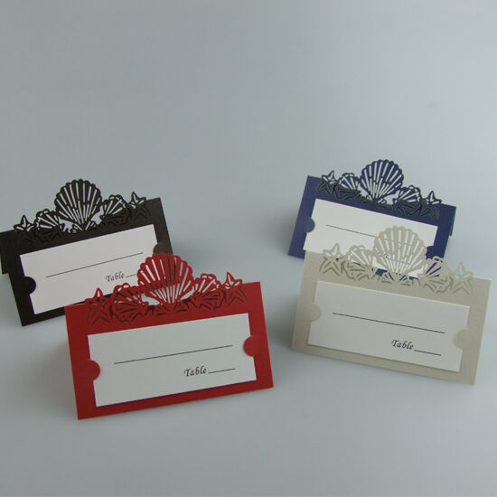 Personalized shell wedding name place cards table cards for Personalized wedding place cards