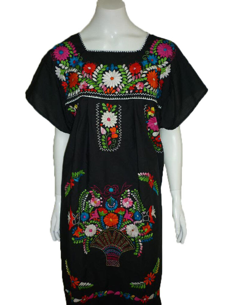 Black Boho Vintage Style Hand Embroidered Tunic Mexican Dress Hippie Puebla | EBay