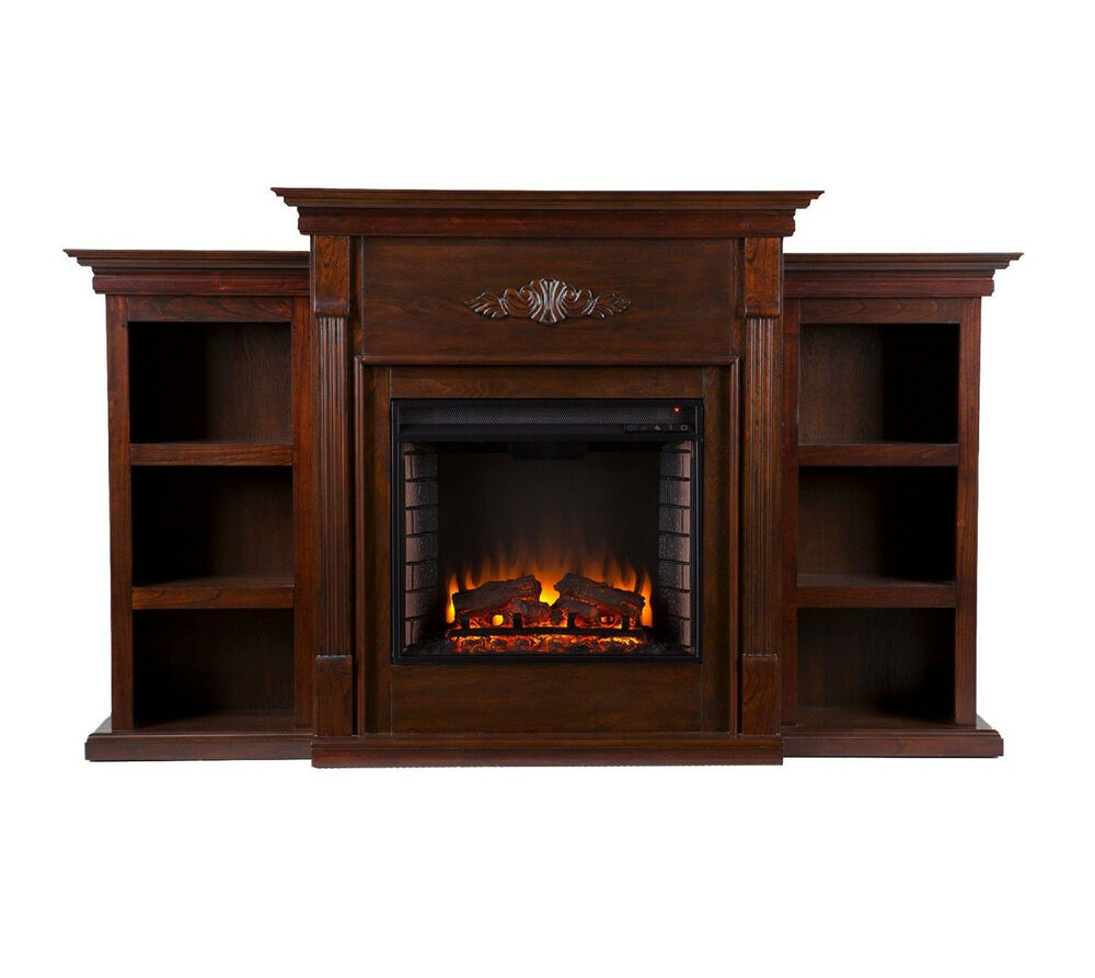 Southern Enterprises Tennyson Espresso Electric Fuel Fireplace W Bookcases New Ebay