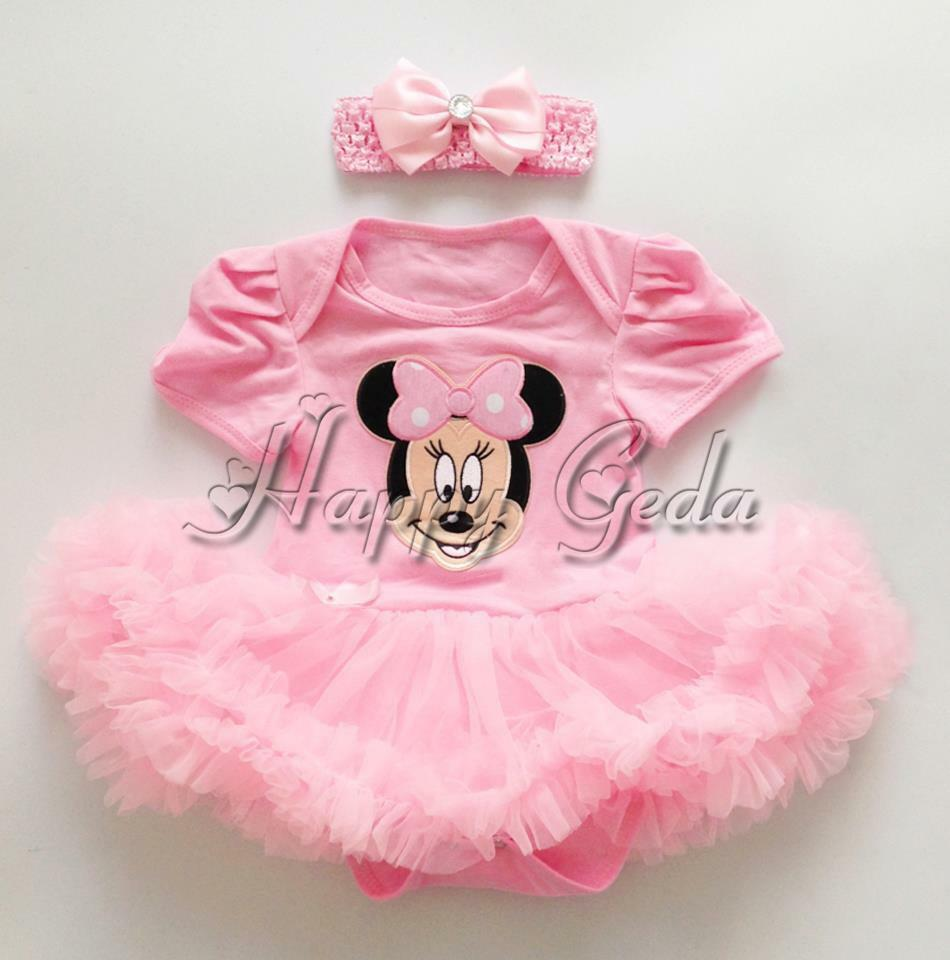 2PCS Baby Girls Minnie Mouse Romper Tutu Dress Outfits 1st