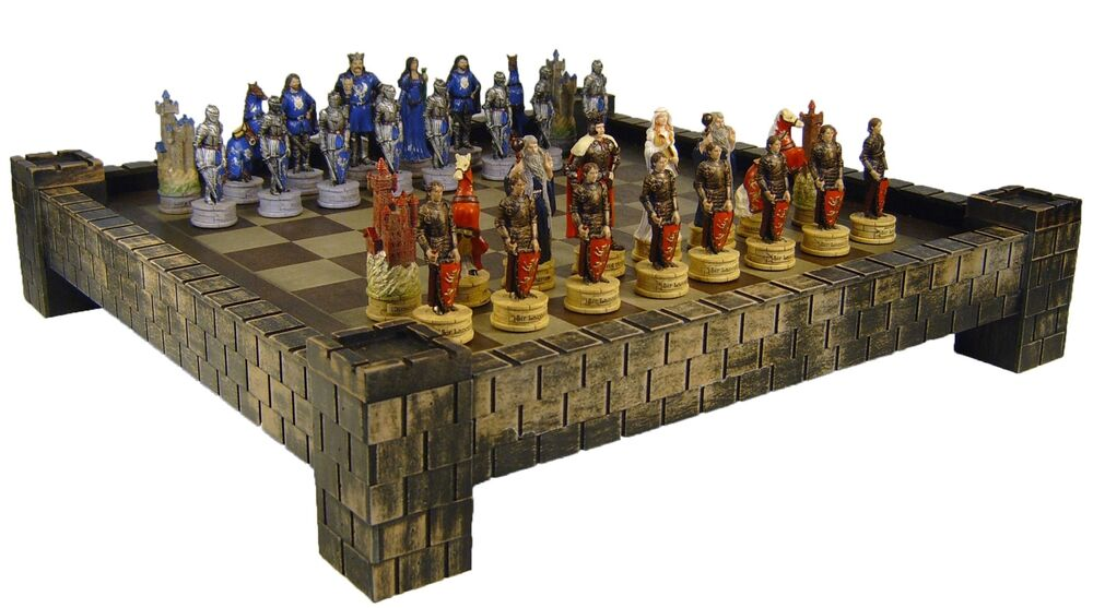 Medieval times camelot king arthur sir lancelot knights chess set castle board ebay - Medieval times chess set ...