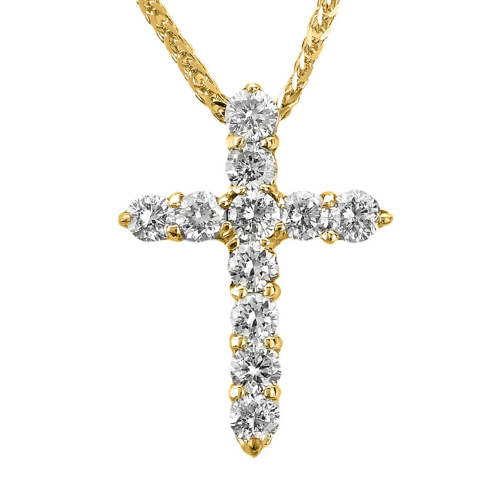 14k yellow gold round diamond cross pendant necklace ebay. Black Bedroom Furniture Sets. Home Design Ideas