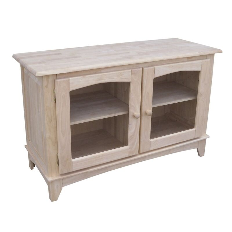 whitewood tv stand w glass doors unfiinished tv 42 tv. Black Bedroom Furniture Sets. Home Design Ideas