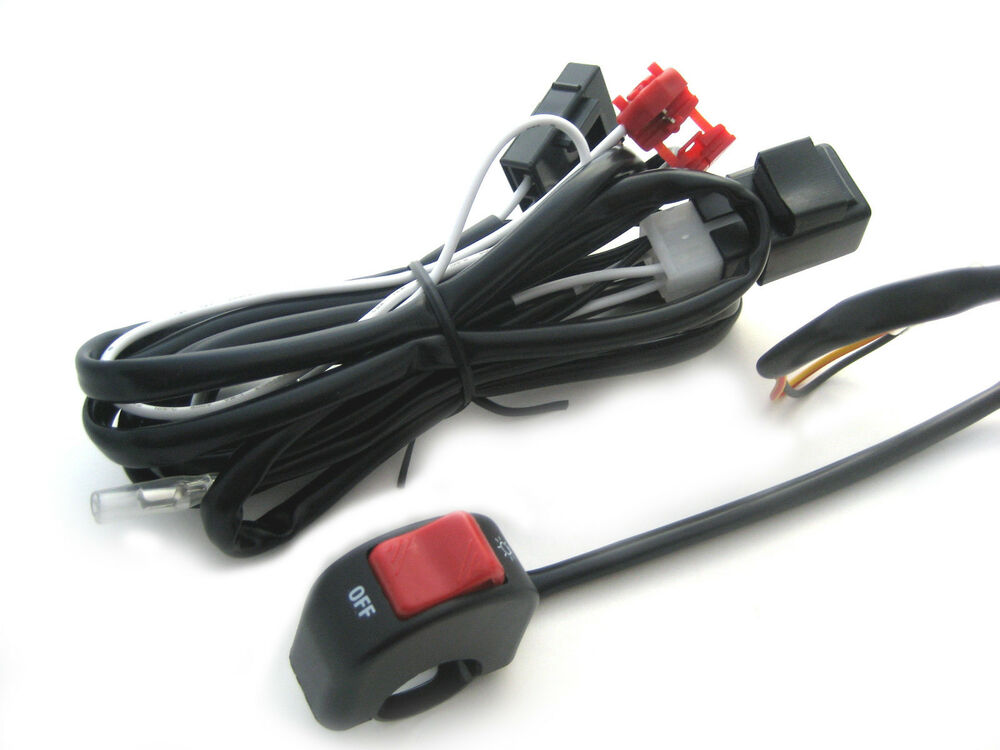 Complete Motorcycle Wiring Harness : Complete spot fog light wiring loom harness switch kit