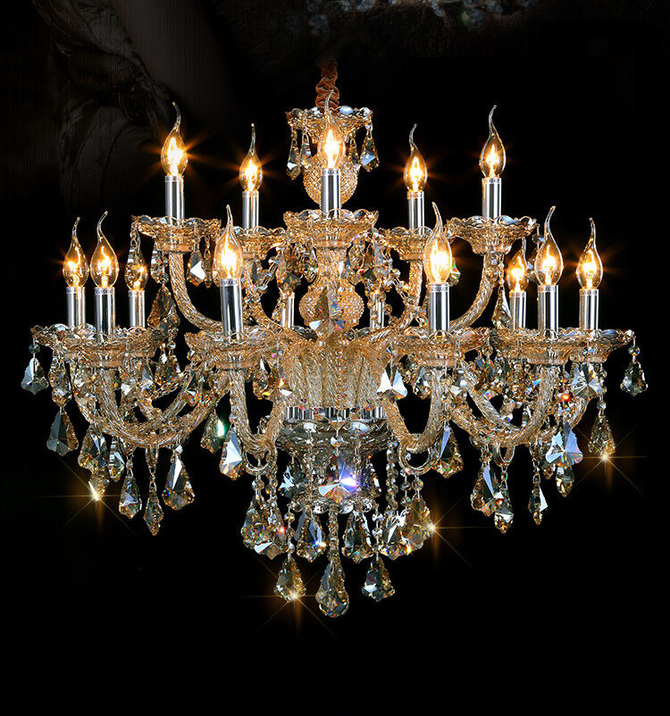 Cognac 15 Arms Modern Luxury Crystal Chandelier Pendant