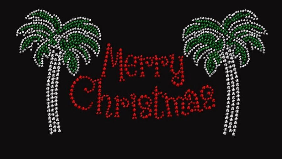 Christmas palm tree merry christmas rhinestone iron on t Merry christmas t shirt design