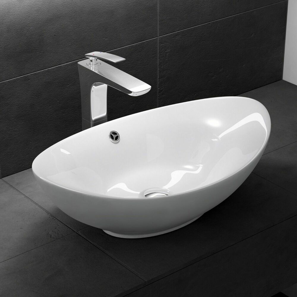 Modern white counter top mounted 580x380mm ceramic basin for Modern bathroom basins