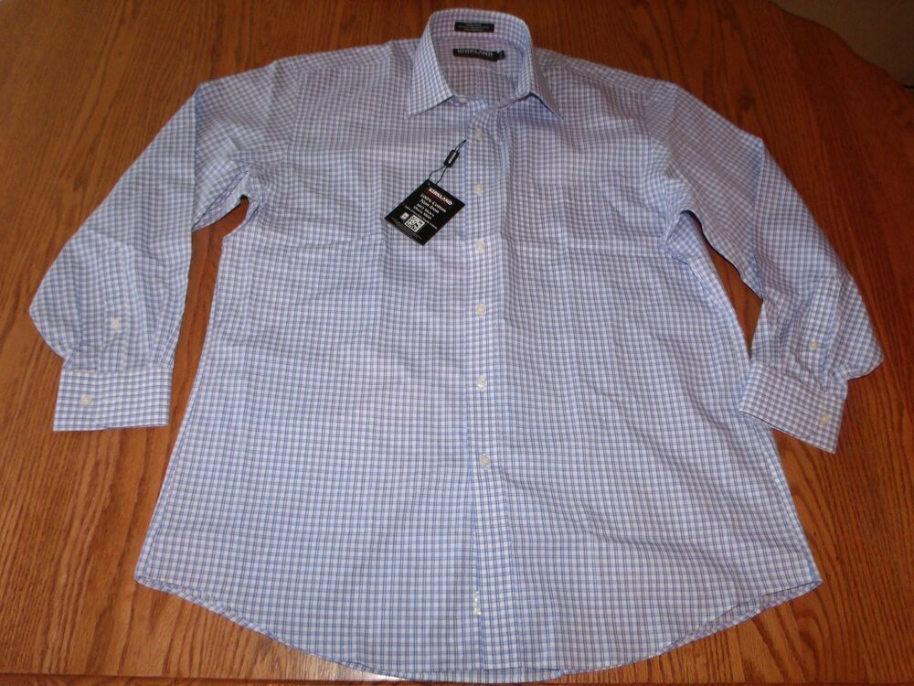 Nwt mens kirkland signature plaid dress shirt no iron blue for Mens no iron dress shirts