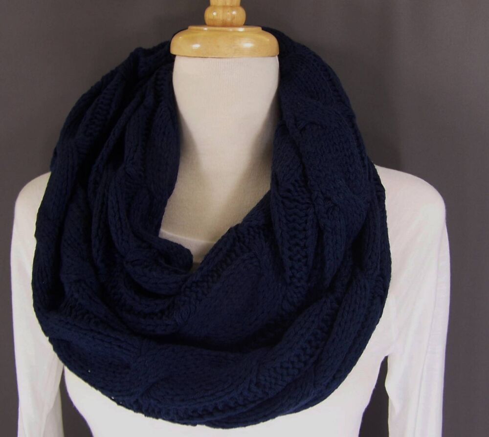 navy blue chunky cable knit circle infinity endless loop