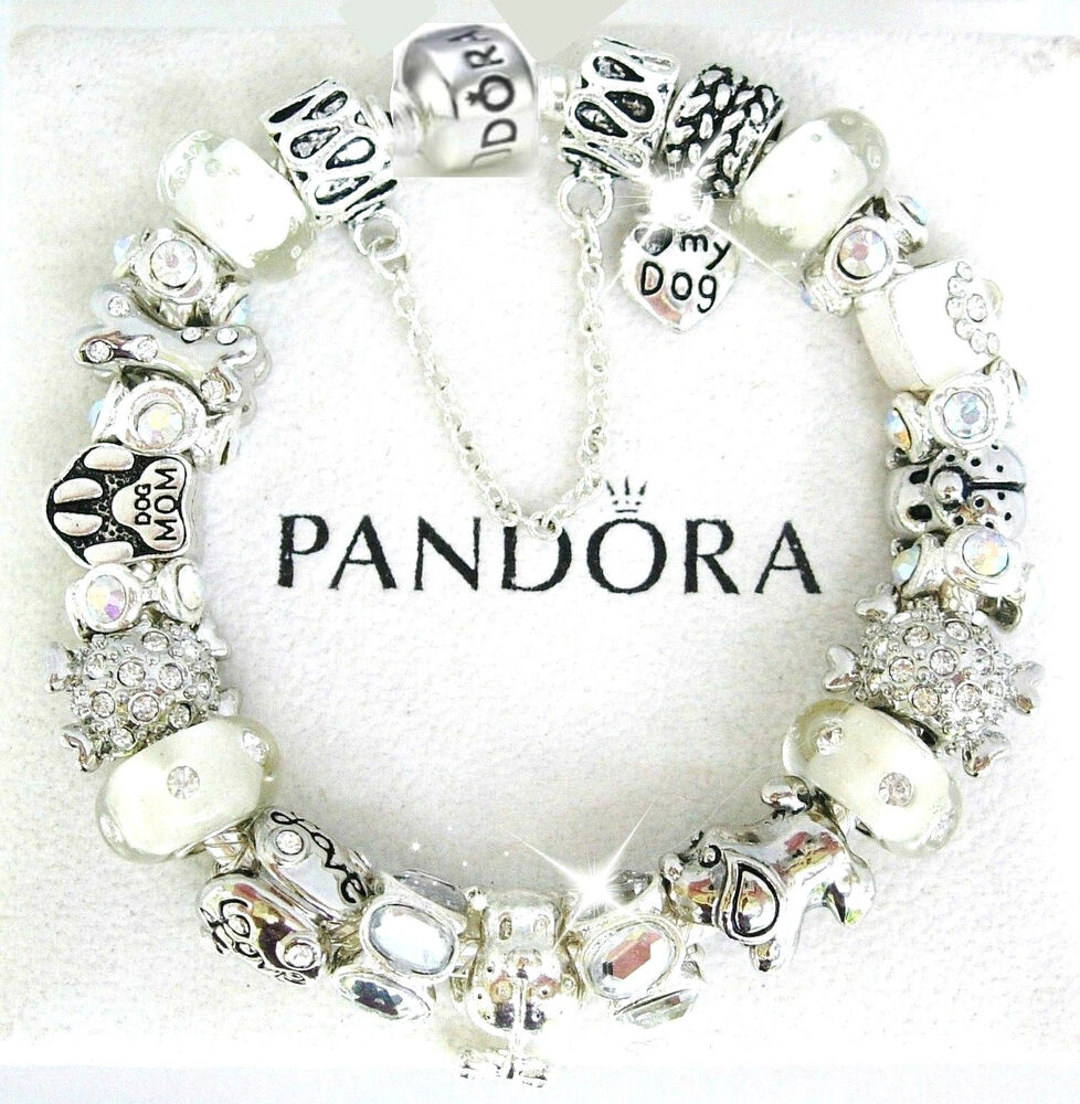 New Charm Bracelets: Authentic Pandora Silver Bracelet Dog Crystal Mom European