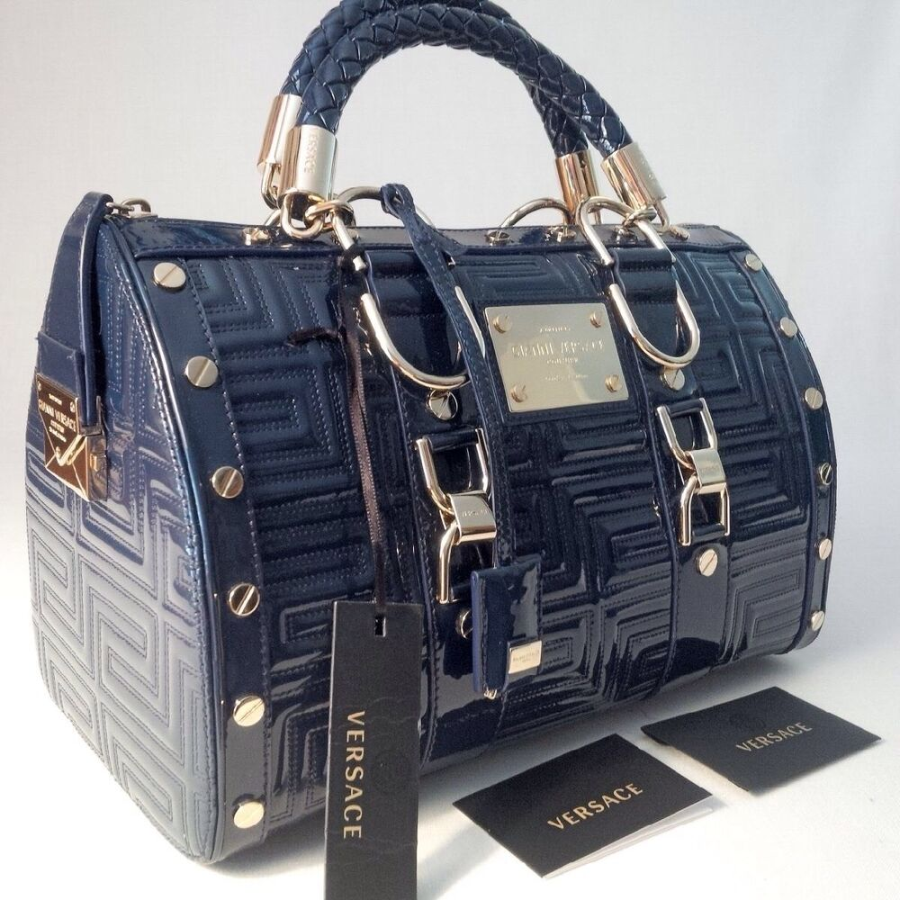 11742bde9b8f Details about NEW GIANNI VERSACE COUTURE LEATHER GRECA QUILT DOCTOR HANDBAG  BLUE MADE IN ITALY