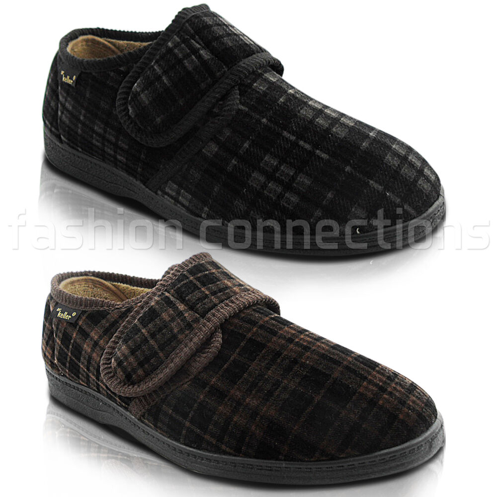 NEW MENS GENTS VELCRO FASTENING CUSHIONED VELOUR HARD SOLE SLIPPERS SHOES SIZ