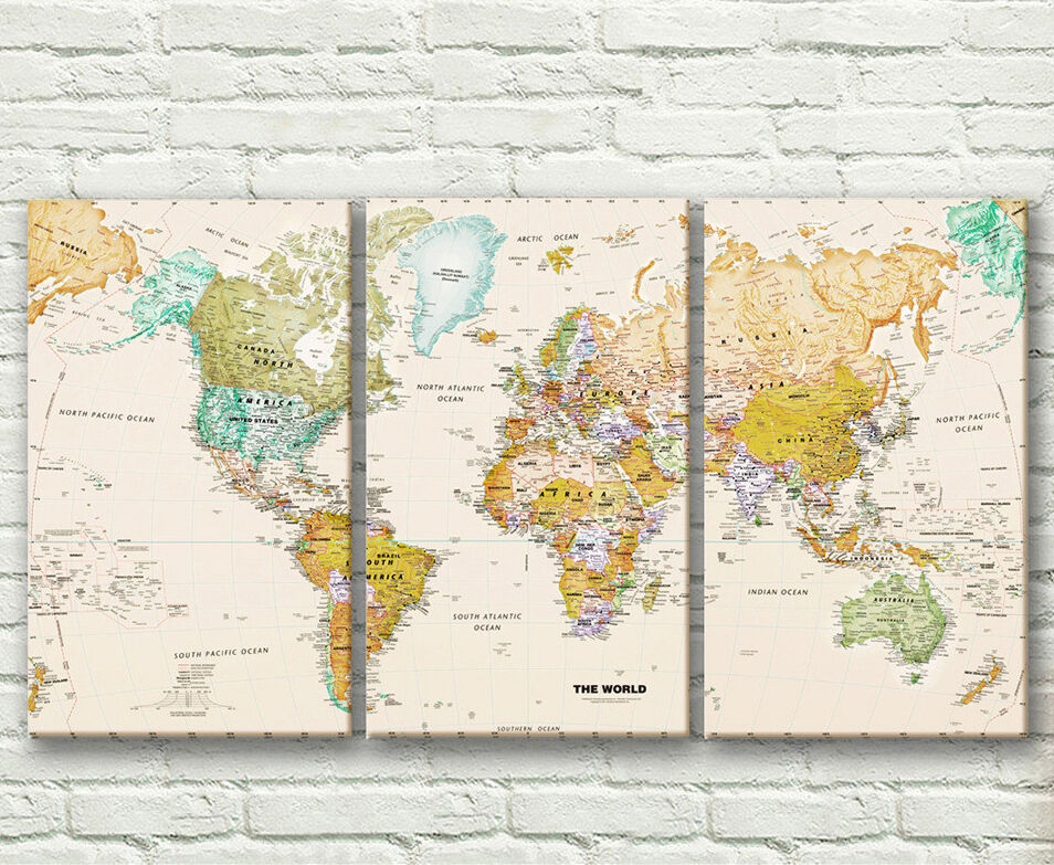 Set of 3 world map stretched canvas prints framed wall art for World map wall print