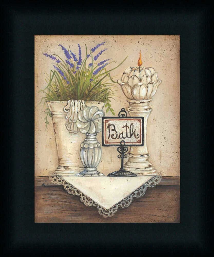Bath country bathroom victorian art print framed decor ebay for Paintings for bathroom decoration