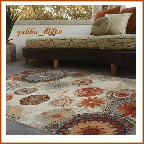 Indoor Outdoor Rug Area Carpet Patio Furniture Orange Teal Flower 5 X 8 Mat P