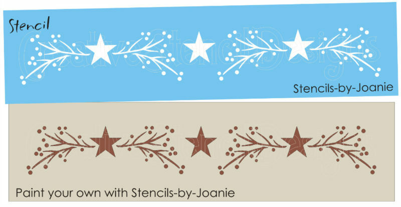 Country Primitive Stencil Twig Branches Pip Berries Star