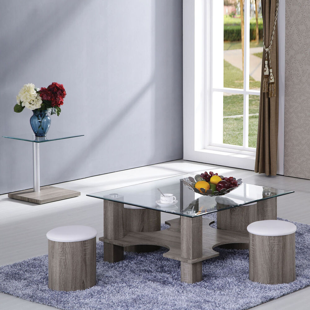 Grain 5 PC Square Temper Clear Glass Top Coffee Table