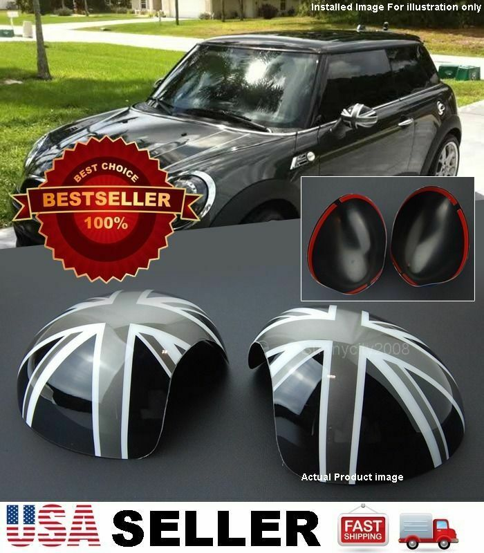 Black Gray Union Jack Uk Side View Mirror Cover Caps 14 15