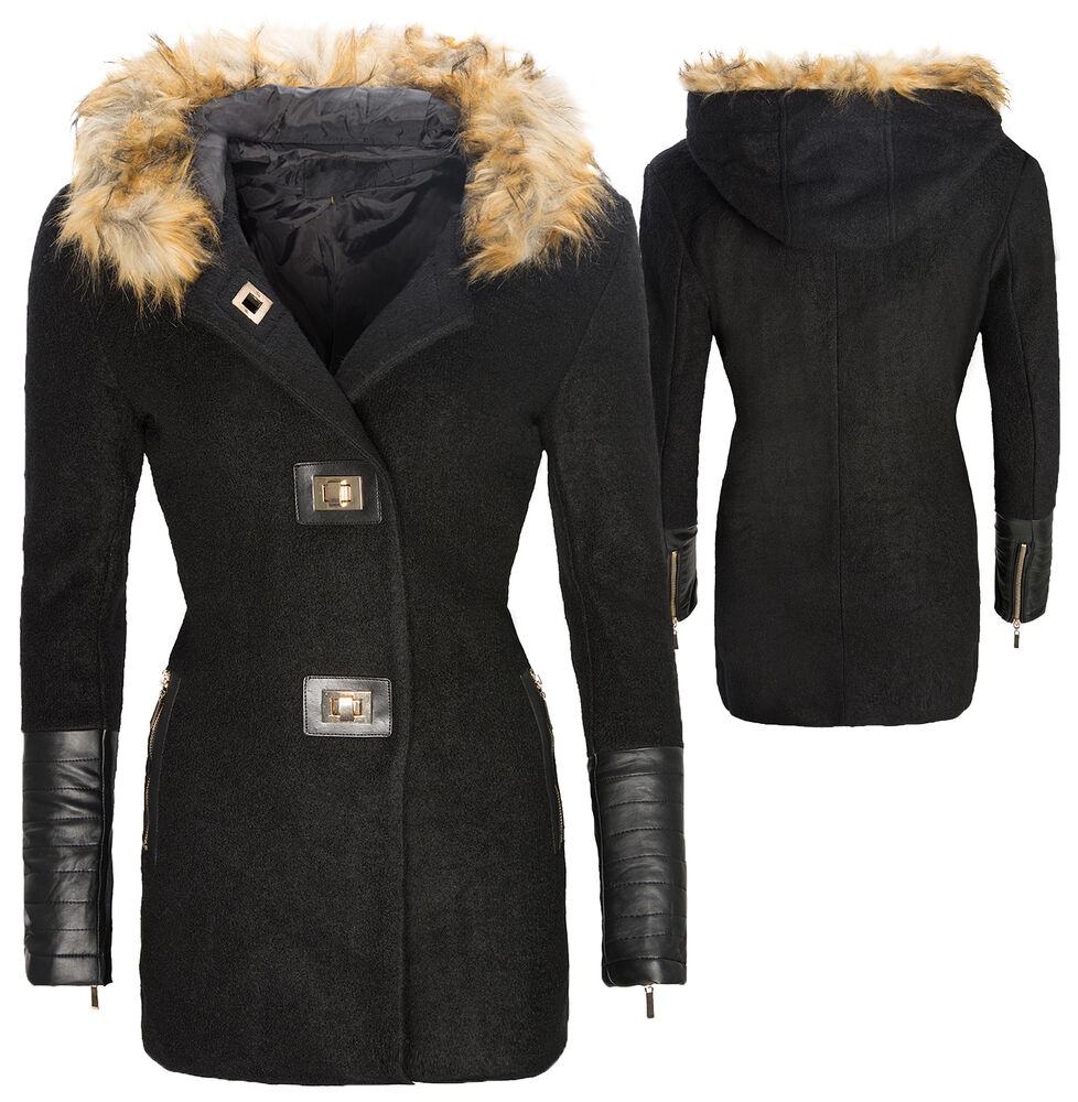 damen winter wollmantel jacke parka mantel kunstleder rmel fell kapuze d 120 ebay. Black Bedroom Furniture Sets. Home Design Ideas