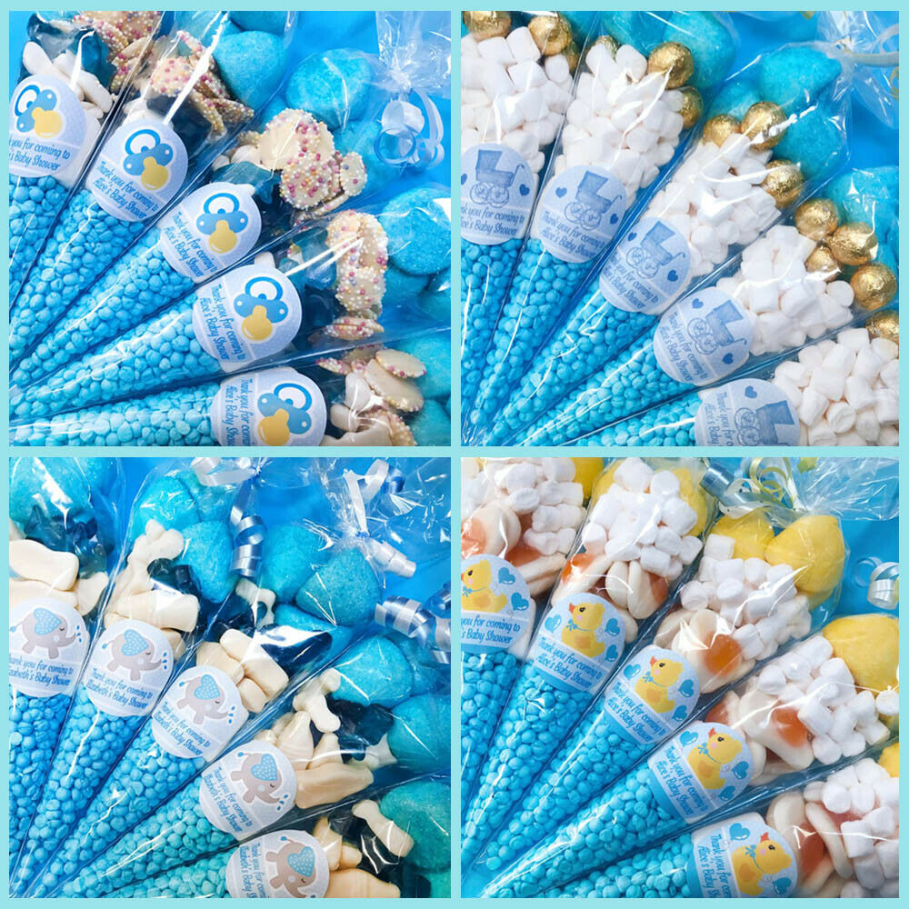 Baby Shower Favour Ideas Uk ~ Personalised blue baby shower favours filled sweet cones