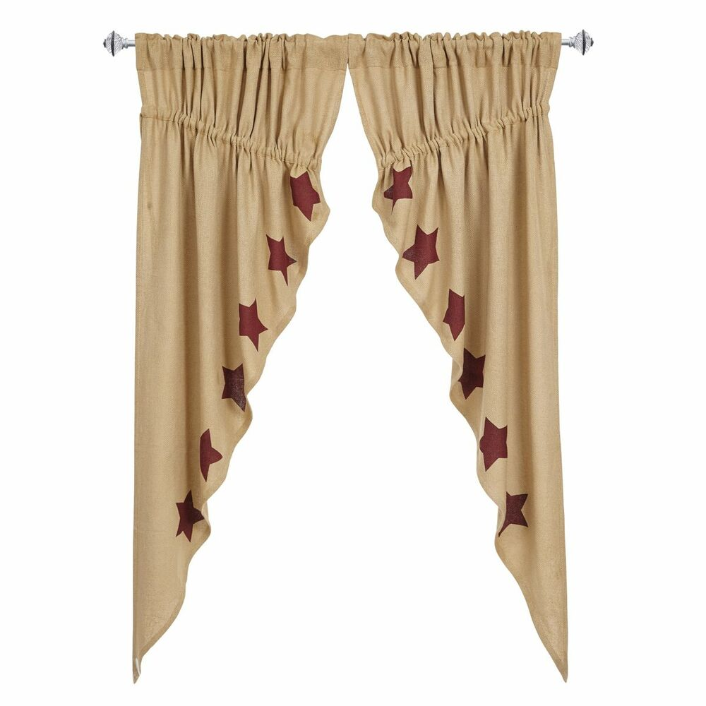 New Primitive Country Cotton Burlap Wine Barn Red Star Prairie Swags Curtains Ebay