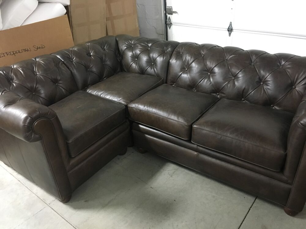 pottery barn leather chesterfield tufted pleated sofa sectional 3 pc cocoa ebay. Black Bedroom Furniture Sets. Home Design Ideas