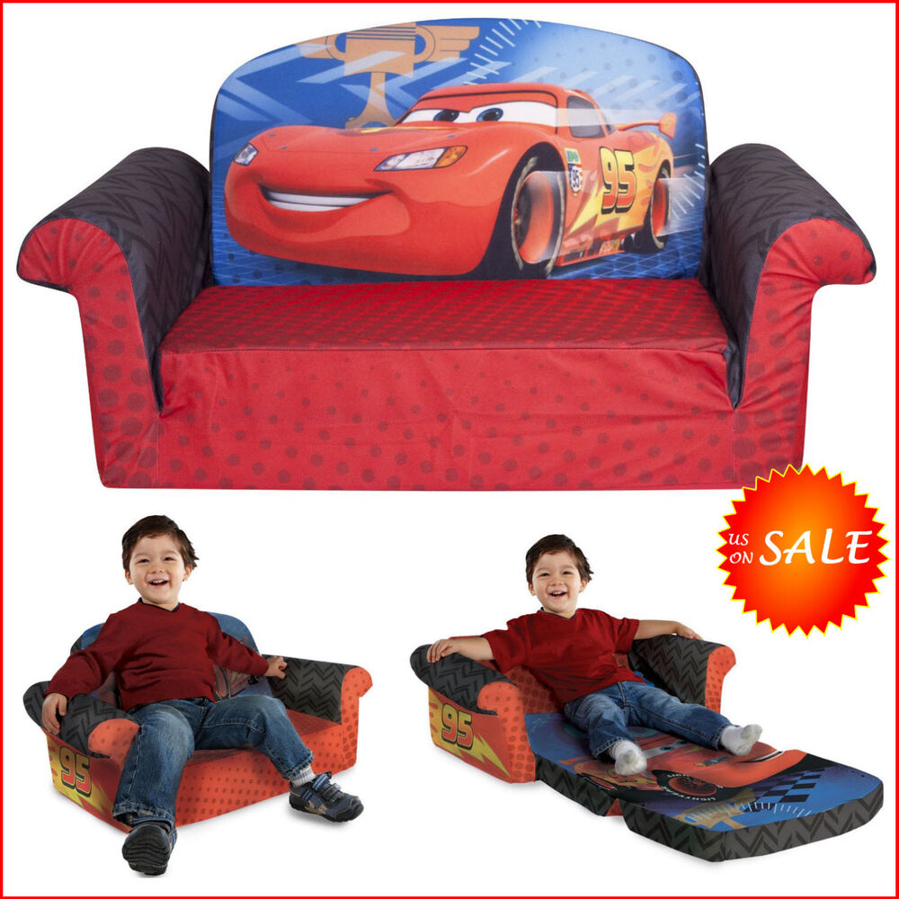 Disney car 2in1 flip sofa bed kids toddler boy sleeper furniture reclining chair ebay Toddler flip out sofa couch bed