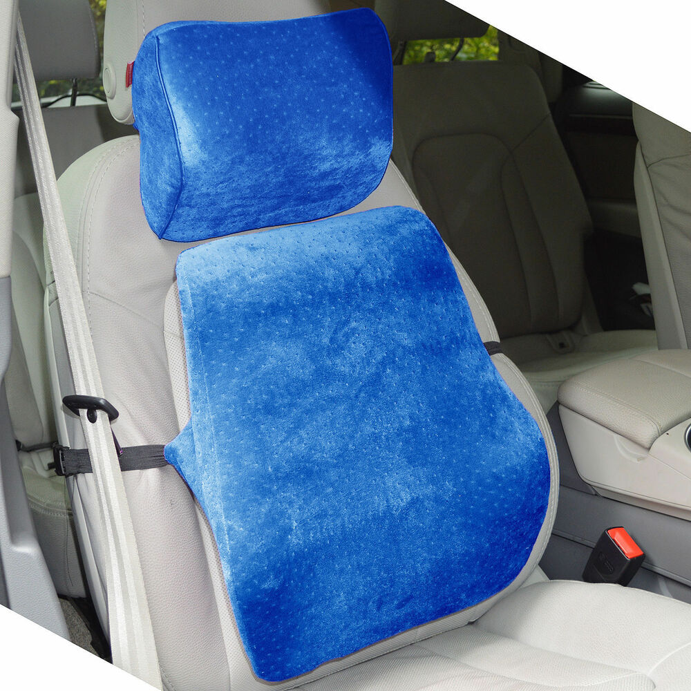 memory foam car seat cushion lumbar back support head rest neck travel pillow ebay. Black Bedroom Furniture Sets. Home Design Ideas