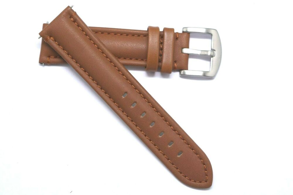 22mm brown quality leather watch strap brushed buckle made for fossil 22 mens ebay for Men gradient leather strap