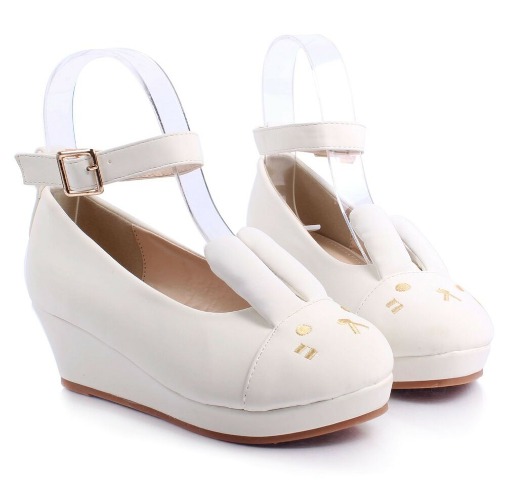 White Cute Ankle Strap Buckle Kids Girls Bunny Ears Wedge ...