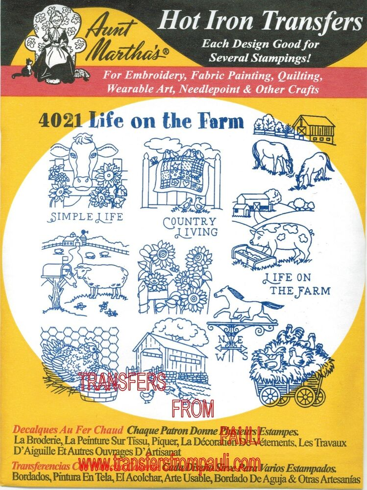 Life on the farm aunt martha s hot iron embroidery