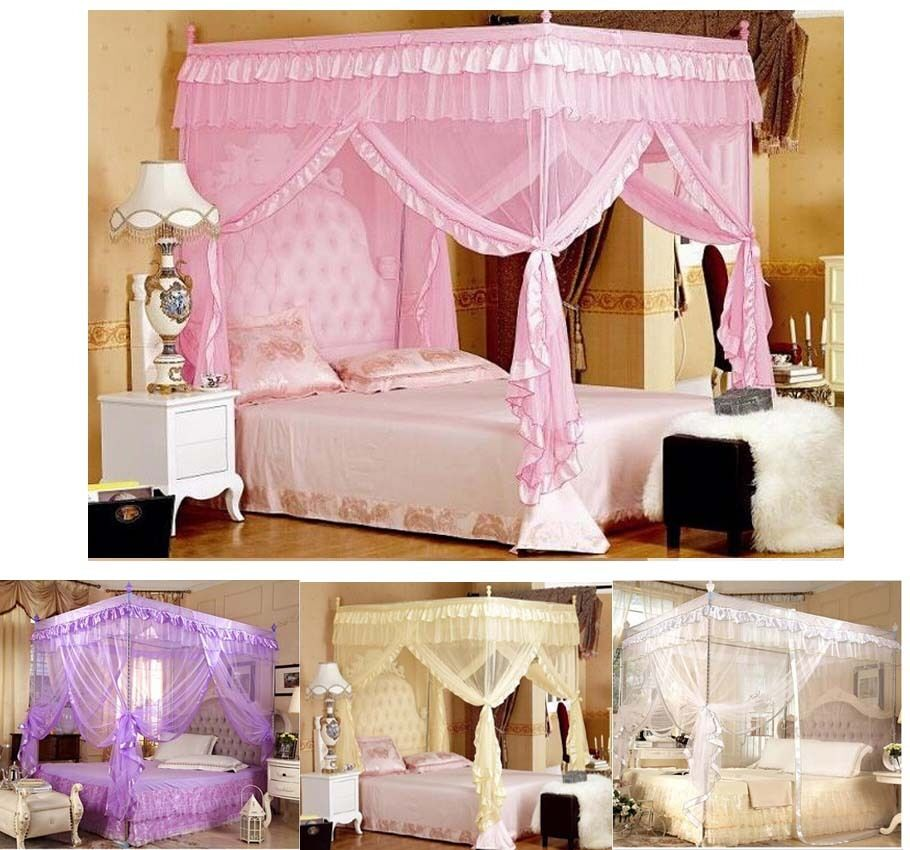 Luxury lace princess four corner post bed canopy mosquito for Canopy over bed